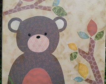Brown Woodland Bear Mixed Media Whimsical & Forest Animal OOAK Painting Folk Art Custom Boy Nursery Children Room Wall Art Baby Shower Gift