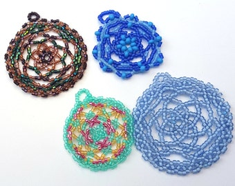 Handmade Beaded Mandala Pendants
