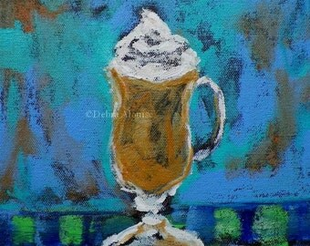 Coffee Latte Whipped Cream Kitchen Food Drink Original Painting by Artist Debra Alouise