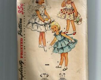 Simplicity Girls' One-Piece Dress Pattern 4688