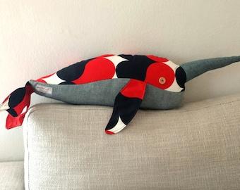 Denim Narwhal Handmade Plush Pillow Doll