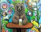 Large Original Painting, Grizzly Beer, Bear with Beer by Carol Iyer
