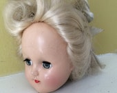 Creepy Blonde Doll Head / Moving Eyes / Ideal Doll