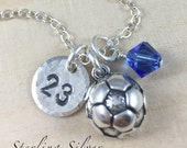 Personalized Soccer Ball Charm Necklace, Hand Stamped Initial Jewelry, Sterling Silver Soccer Necklace, Soccer Team Gift, Soccer Coach Gift