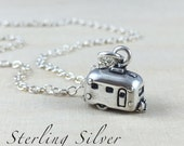 Sterling Silver Camper Charm Necklace, Airstream Travel Camper Necklace, Sterling Silver Camper Charm, Travel Necklace, Camper Trailer Charm