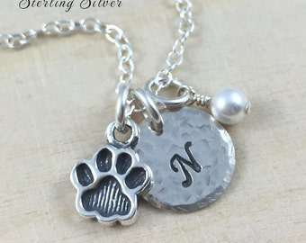 Paw Print Charm Necklace, Personalized With Birthstone And Initial, Pet Paw Necklace, Personalized Sterling Silver Jewelry, Initial Necklace