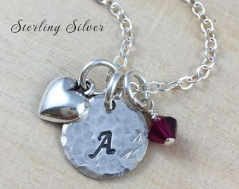 Personalized Petite Heart Charm Necklace, Personalized Initial & Birthstone Jewelry, Sterling Silver Heart Charm Necklace, Personalized Gift
