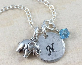 Personalized Necklace - Hand Stamped Jewelry - Petite Elephant Charm Necklace - Sterling Silver Necklace - Handmade