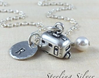 Personalized Camping Trailer Charm Necklace, RV Camping Necklace, Sterling Silver Camper Necklace, Personalized Travel Gift