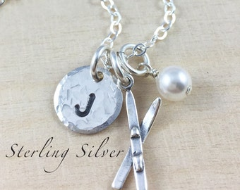 Sterling Silver Ski Charm Necklace, Hand Stamped Initial Necklace, Skier Gift, Personalized Skis Charm Necklace, Personalized Gift