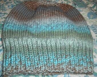 Hand knit knitted hat cap wool silk beanie unisex watchcap aqua gray brown sage