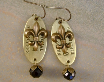 Big Easy Blues - Antique Tennessee Whiskey Barrel Number Tags Fleur De Lis New Orleans Saints Recycled Repurposed Assemblage Earrings
