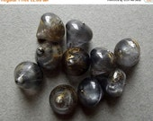 On Sale Vintage grey and gold cone beads
