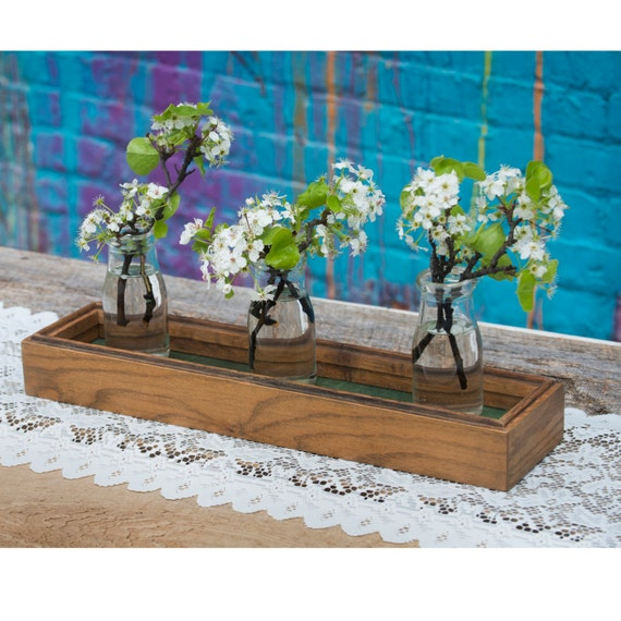 Reclaimed wood tray centerpiece box long display