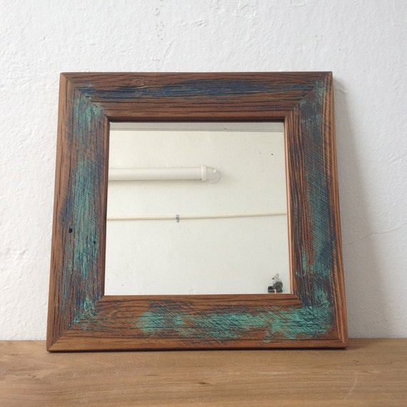 Teal blue reclaimed wood mirror square mirror bathroom for Teal framed mirror