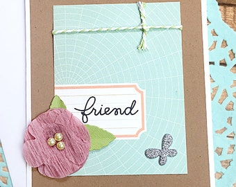 """Mauve Flower Friend Note Card, Thinking of You, Birthday, Just Because, Care, Keep in Touch, Get Well, Butterfly, Sparkle, Sweet -4.25""""x5.5"""""""