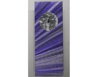 Purple & Silver Modern Metal Wall Clock - Contemporary Functional Metal Wall Art - Home Decor - Wall Accent - CLK 328 by Jon Allen