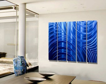 Modern Blue Multi Panel Wall Art, Huge Indoor Outdoor Metal Wall Art Painting, Abstract Wall Decor - Blue Synchronicity Epic by Jon allen