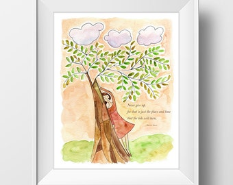Printable Digital Woman Tree Nature Art Print Quote Inspirational Inspiration Motivational Digital Download