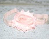 pink baby headband, shabby chic flower, toddler bow, baby girl, baby turban, head wrap, top knot, flower girl, chiffon headband, elastic