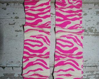 zebra print, baby leg warmers, hot pink, beige, girl leggings, legwarmers, babylegs, costume leg warmers, arm warmers, baby, toddler, kids