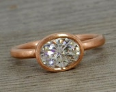 Oval Moissanite Ring with Recycled 14k Rose Gold Alternative Engagement Ring - Forever Brilliant - Matte - Conflict-Free, Made to Order