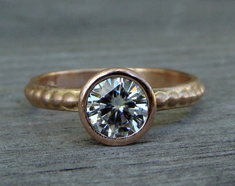CLEARANCE - Forever Brilliant Moissanite Engagement Ring, Recycled 14k Rose Gold Solitaire, Diamond Alternative, Eco-Friendly, size 5.5