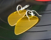 Yellow Vinyl Record Earrings - Handmade Guitar Picks made from Vinyl Records - Fashion Gift for Rockers, Musicians - Hit Record Earrings