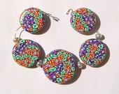 Green Orange Purple Kaleidoscope Artisan Polymer Clay Bead Set with Focal and 4 Beads