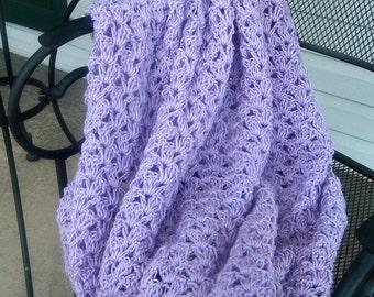 Hand Crocheted Afghan Decorative Throw Light Lilac