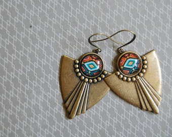 southwest tribal pattern aged brass dangle earrings- pendleton style- brass ox- fall fashion
