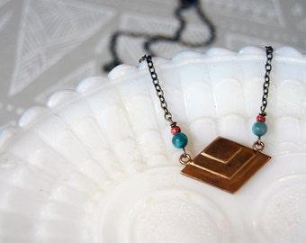 vintage modern brass southwestern geometry style necklace - turquoise and goldstone- diamond