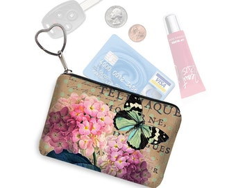 Small Zipper Pouch Coin Purse Keychain Key Fob Business Card Holder Purse Organizer, Cottage Chic Floral, Hydrangea, Butterfly, Pink RTS
