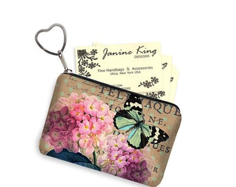 Cottage Chic Zipper Coin Purse Keychain Fob  Business Card Case Small Zipper Pouch bridesmaid gift Pink Hydrangea Floral, Butterfly, RTS