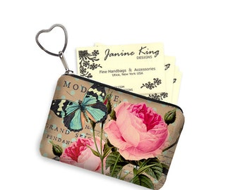 Shabby Rose Zipper Coin Purse Keychain Fob  Business Card Case Small Zipper Pouch bridesmaid gift Pink Vintage Floral, Blue Butterfly, RTS