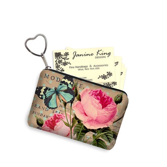 Shabby rose zipper coin purse keychain fob business card case for Keychain business cards