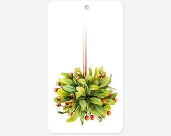 Set of 48 Holiday gift tags, Mistletoe gift tags, Christmas gift tags