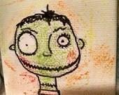 Halloween Little Frankenstein Art Original design tiny canvas