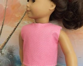 American Girl Doll Clothes Medium Pink Pin Dot Modified Crop Top NEW Style