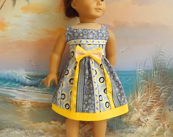 """Fits Like American Girl 18"""" Doll Dress Modern Trendy Sun Dress Featuring Yellow Grey Black and White Stripe Medley NEW Item"""