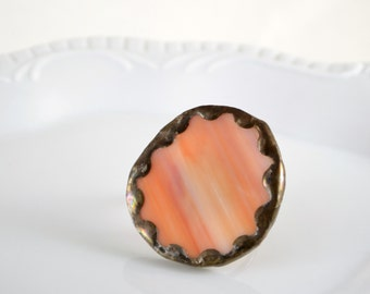 Recycled Stained Glass Ring -  Orange