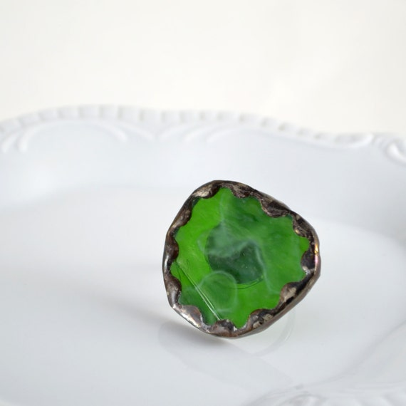 Recycled Stained Glass Ring -  Green