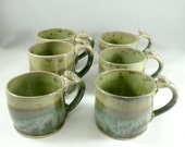 Artistic Espresso Cup, Unique Coffee Mugs, Small Tea Cup, Teacup in Green Lichen Glaze, Holds 8 ounces
