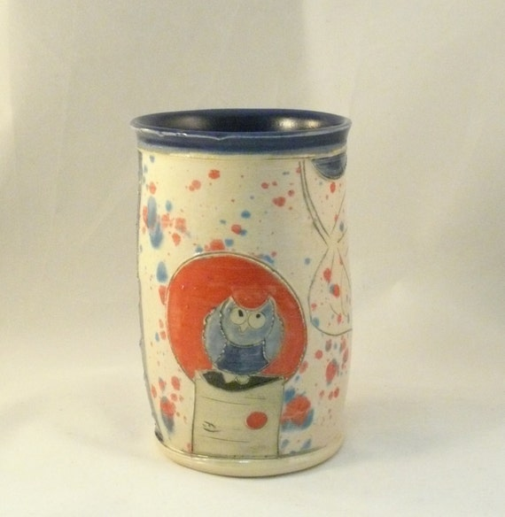 Ceramic Tumbler  - No handle teacup -  flower vase, pencil cup or toothbrush holder - wine tumbler or cup - utensil holder for kitchen T166