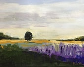 landscape painting, lavender field, abstract landscape,small landscape, gallery wall, art,