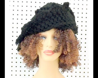 Black Crochet Hat Womens Hat, Women's Wool Hat, Crochet Beanie Hat, Black Hat, Crochet Winter Hat, LAUREN Beanie Hat for Women