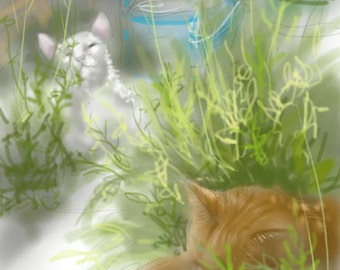 SALE! - 'Cats sleeping in the Greenhouse' - art print, digital drawing