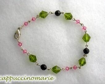 Pink - Olive Green sterling and crystal bracelet