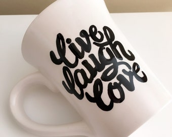 live laugh love or custom  heart ceramic mug handmade