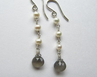Moonstone Pearl Wire Wrapped Earrings